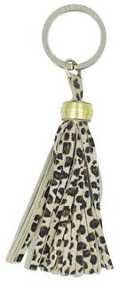 Porte clé en cuir - pompon léopard - bijoux de sac L'Insolente Paris