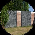 Murs libres et clôtures en gabions