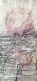 Im Wasser, Aryl mit Sand, Tempera auf Papier, 2017