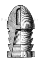 Boxer-Geschoss (mit Ton-Culot in der Expansions-Höhlung) für das englische Snider-Gewehr