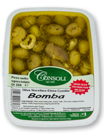 Olive Verdi Schiacciate e condite piccanti