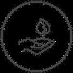 Symbol Hand mit Erde und junger Pflanze