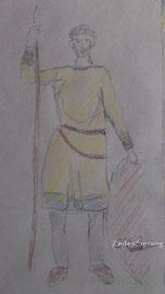 Bild : mein Entwurf für eine Tunika nach einem Steinbildnis