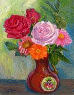 「薔薇とガーベラ」F6号 油彩