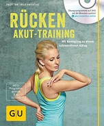 Auf dem Cover sieht man eine Frau die gerade eine Rücken-Übung macht.