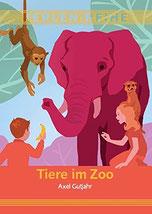 Auf dem Cover befinden sich zwei Kinder, zwei Affen und ein Elefant.
