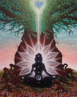 Power der Kundalini führt zur Erleuchtung, Chakren, Herz, Baum, Meditation, Blumenwiese, Universum in dir