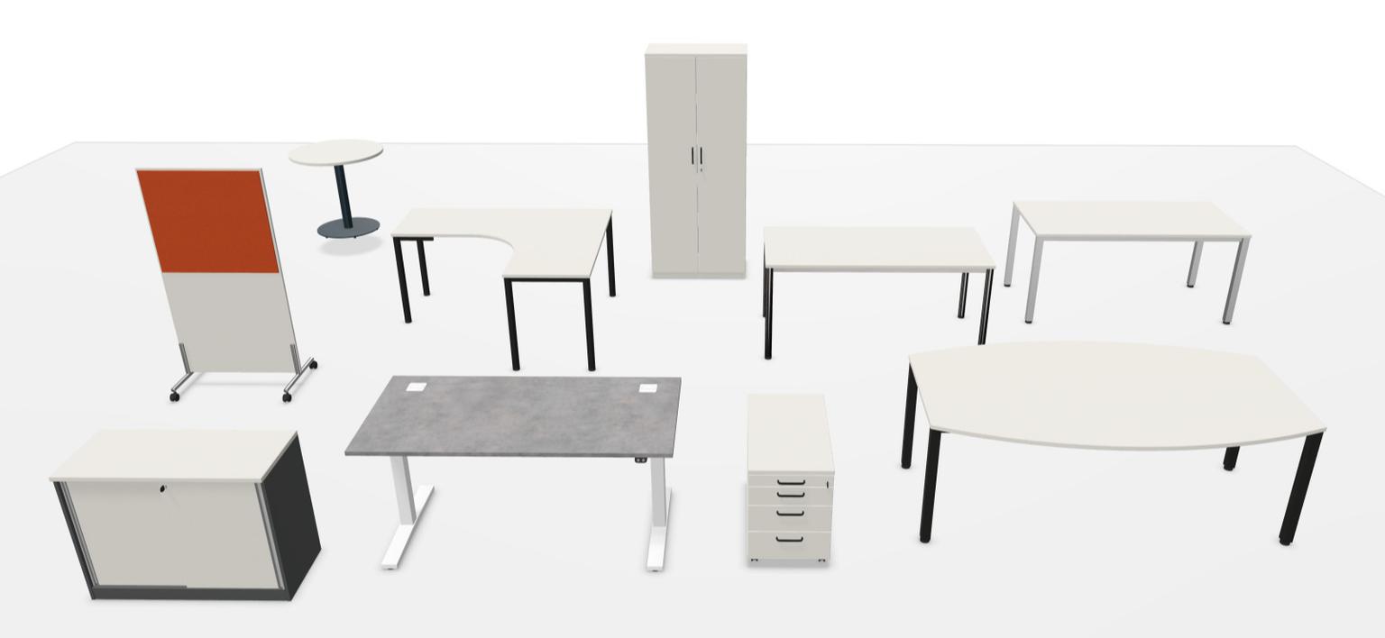 Übersicht von Büromöbel Elementen