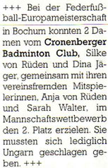 Cronenberger Anzeiger Bericht vom 28.10.2003
