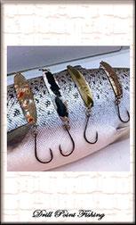 Perlmutter-Spangen und Perlmuttlöffel zum Schleppen auf Seeforelle