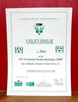 Futsalicious Essen e.V. Urkunde zur Meisterschaft in der FVN Futsal-Niederrheinliga 2009