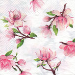 Servilletas para decoupage con motivos florales de magnolias.