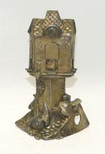 Taschenuhren-Halter, Ständer, um 1900, Zinn, Vogelhäuschen mit Vögeln, 18,7 cm, € 210,00