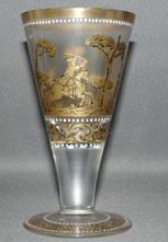 Fritz Heckert Historismus Glas,satiniert,Goldbemalung,Signiert,Jagdszene,15,2 cm , € 320,00