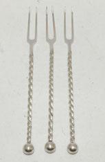 3er Set Fleischgabel, WMF, gedrehter Schaft, versilbert, 18,3 cm, € 99,00