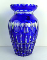 Überfangglas Vase Kobaltblau,Böhmen,geschliffen, € 125,00