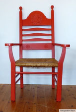 Worpsweder Armlehnstuhl, Eiche geschnitzt, rot lackiert, intaktes Binsengeflecht; € 580,00