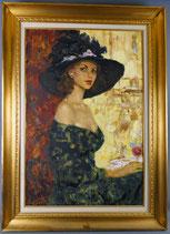 Guena Bernadsky geb. 1932 Leningrad, Dame in schwarzem Kleid, Öl auf Leinwand , € 1400,00