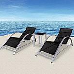 2x Sonnenliege Gartenliege Liegestuhl Strandliege Liege + 1 Glastisch Garten