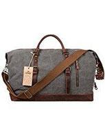 S-ZONE Größere Version Vintage Segeltuch Canvas Leder Unisex Handgepäck Reisetasche Sporttasche für Reise am Wochenend Urlaub 52 Liter…