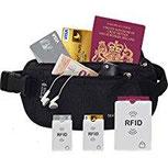 BAUCHTASCHE GÜRTELTASCHE GELDBÜRTEL Mit RFID Schutz Schützt Sie Auf Reisen Vor Taschendieben. 2x RFID Schutz Für Karten Und 1x RFID Schutz Für Reisepass.