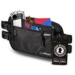 Flache Bauchtasche Hüfttasche mit RFID-Blockierung und 2 Hüftgurten für Damen und Herren – enganliegend, wasserabweisend – Geldgürtel zum Sport Joggen Reisen – VAN BEEKEN Money Belt, schwarz