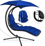 Luxus Schwebeliege anthrazit Schwingliege Relaxliege Hängeliege Sonnenliege Hängeschaukel inklusive Sonnenschirm
