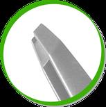 детальный фрагмент пинцета со скошенными краями