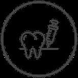 Symbole Zahn und Spritze
