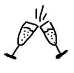 Illustration von zwei Sektgläsern