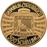AU986 オーストリア ウィーン金貨 500 シリング シュトラウス 1992年 ウィーンフィルハーモニー150周年 コイン