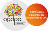 """Logo """"OGDPC habilité à dispenser des programmes de DPC"""""""
