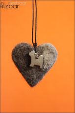 Tibet Terrier Herz aus Hundehaar