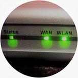 LED Leuchten am Router blinken