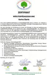 Zertifikat zur Kräuterpädagogin-BNE - Kräuterführungen, Kochkurse, etc