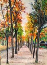 オイルパステルで描いたパリの散歩道