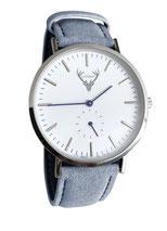 silberne Uhr mit hellblauem Wildlederband Tracht