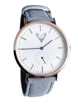 roségoldene Uhr mit blauem Wildlederband Tracht