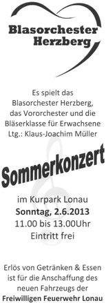 Sommerkonzert in Lonau, 2.6.2013