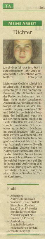 Zeitungsartikel zu Dichter Jan Lindner in der Thüringer Allgemeine