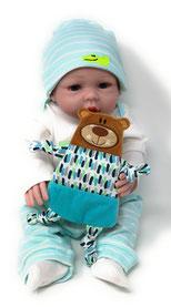 Schnüffel- Tuch Bär, auf Wunsch in deinem Design und bestickt mit Namen und Geburtsdaten des Babys