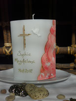 Taufe rosa Taube bemalt Taufkerze