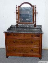 Nussbaum Spiegelkommode, Schwenkspiegel, graue Marmorplatte,um 1900, € 350,00