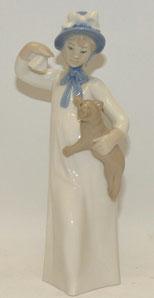 Rex Valencia, Porzellanfigur, Mädchen mit Katze, Made in Spain, 22,3 cm, € 49,00
