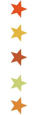 série de 5 étoiles verticales de couleurs orangées
