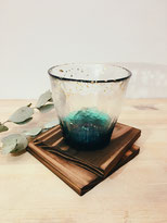 HANDMADE GLASS CUP with GOLD LEAF: Deep Sea