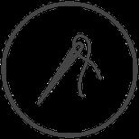 Symbole Nadel und Faden