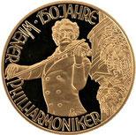 AU986 オーストリア ウィーン金貨 1000シリング シュトラウス 1992年 ウィーンフィルハーモニー150周年