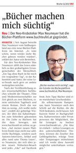 Ein Bild des Buchteufel-Artikels aus der Zeitung BVZ.