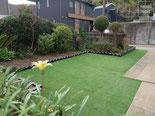 人工芝、ジャワ鉄平石舗装、雑草防止シート、施工例
